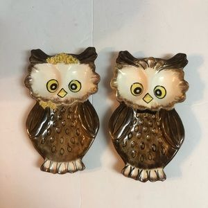 Owls Boy and Girl trinket dishes 1975